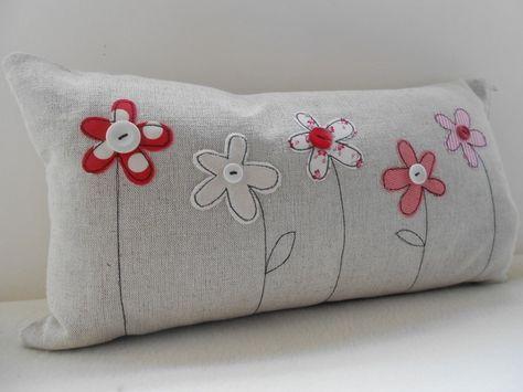 Flower Applique Cushion Cover