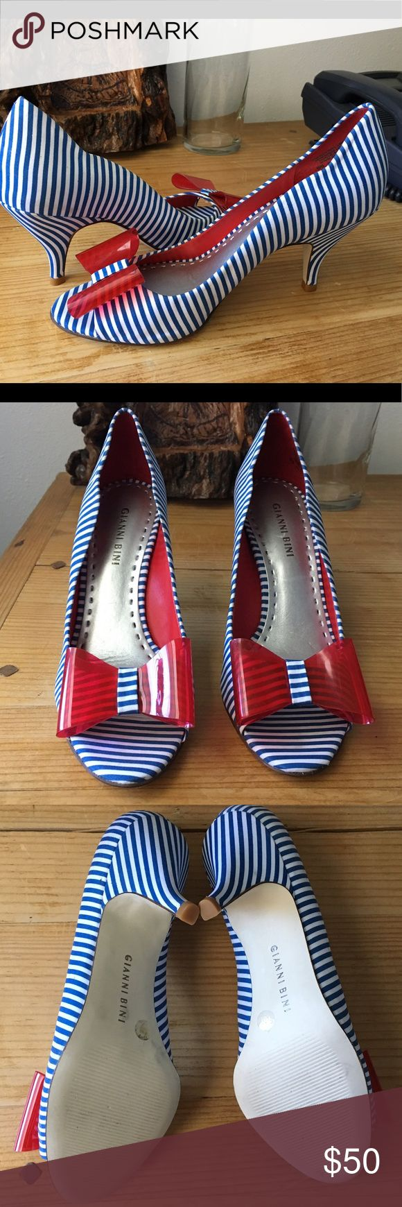 Nautical pumps Gianni Bini nautical pumps with cute red bow. Size 7.5.  New without box! So cute! Gianni Bini Shoes Heels