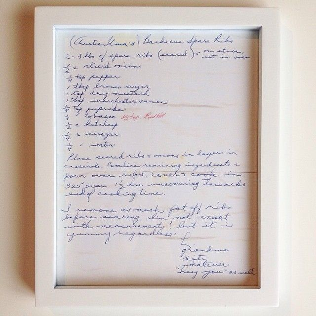This recipe was written by my great grandmother, it now hangs in my kitchen.  Cute DIY up on the blog today. Framing handwritten recipe cards from loved ones. #DIY #blog #recipe #recipecards #framed #lovedone #greatgrandma #mother #craft #Vancouver #memory