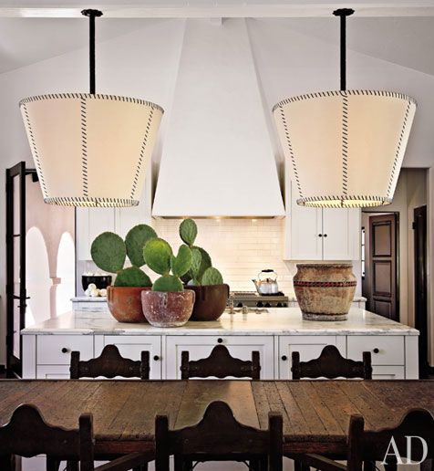 Diane Keaton's kitchen in BH. Love the big island topped with marble. Perfect for baking.