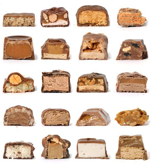 cross sections of candy bars /