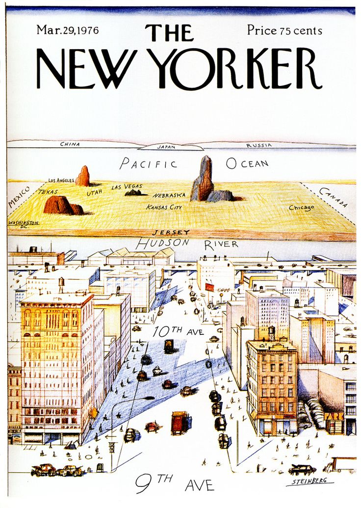 The New Yorker Magazine Cover View Of The World From 9th Avenue Has Come