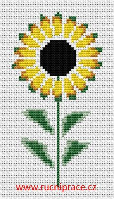 Sunflower, free cross stitch patterns and charts - www.free-cross-stitch.rucniprace.cz