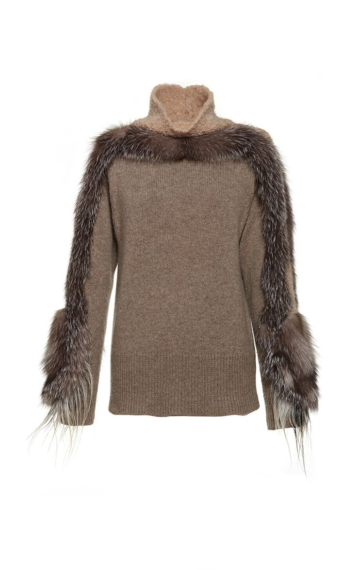 Click Product to Zoom Agnona Textured Boucle and Cashmere Turtleneck with Fur Sleeves $3,790 (on sale $2,047)