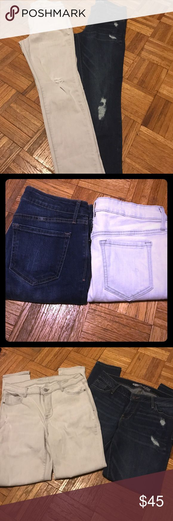 "Old Navy Distressed Rockstar Jeans Lot Of 2 Old Navy distressed Rockstar Jeans. This is a lot of 2 ( 1 Gray & 1 Blue). In like new condition. Size 10. Inseam approximately 29"" Old Navy Jeans Skinny"