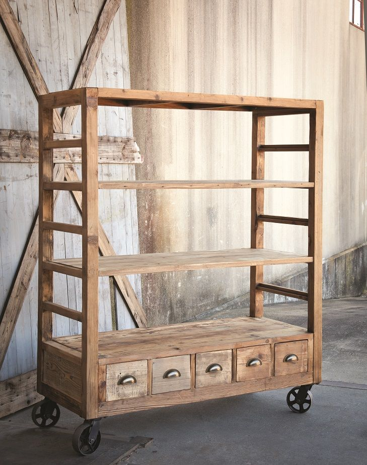 Vintage-Style Rolling Shelves - could be used as a rolling hutch or as a · Reclaimed  Wood ... - 44 Best Reclaimed Wood Furniture Images On Pinterest Reclaimed