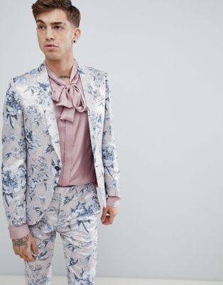 cf119ca7a1cd Image 1 of Twisted Tailor super skinny suit jacket in pink metallic floral  print