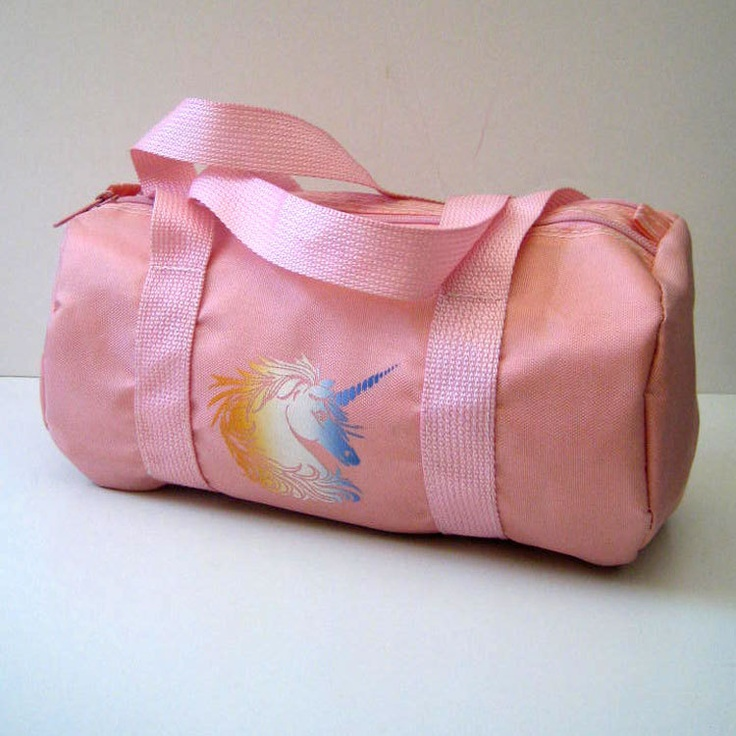 Pacific Connections 1980s pink unicorn barrel/duffel purse