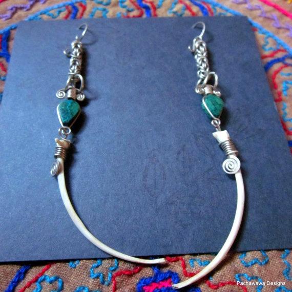 Anaconda Bone Earrings with Chrysocola by pachawawa on Etsy, $45.00