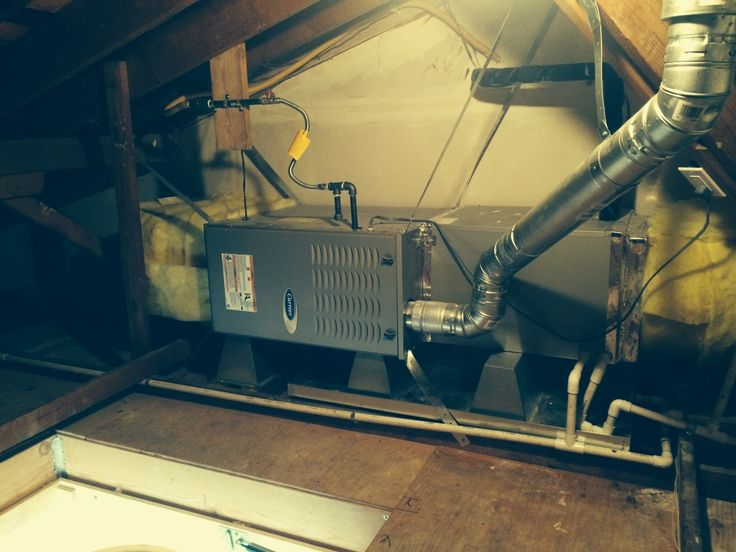 Carrier Furnace, horizontal attic installation, great job guys!  Ours needs to go in the crawlspace (sidesplit home) to free-up about 24 sq ft (200ish cubic ft!) footprint.  Not to mention what an eyesore furnace/ductwork is!