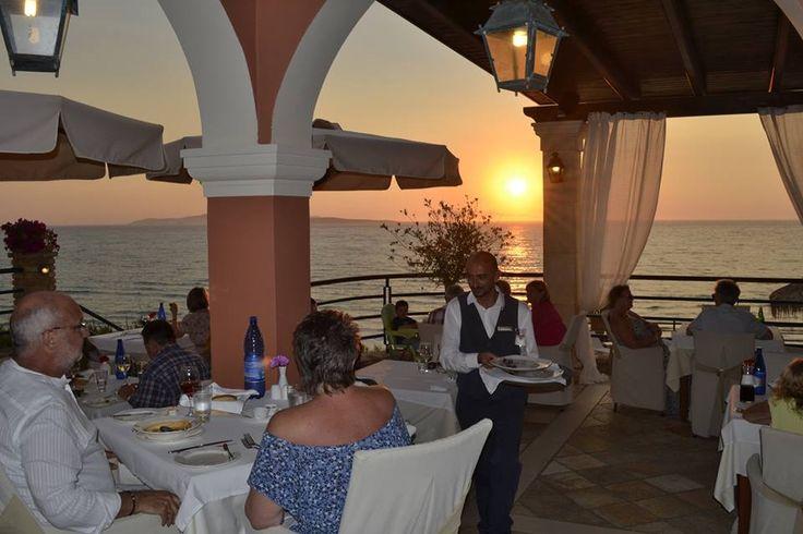 "Dinner at ""Kohili"" Restaurant when the sun sets... Delfino Blu Boutique Hotel. http://delfinoblu.gr/corfu-restaurant.htm"