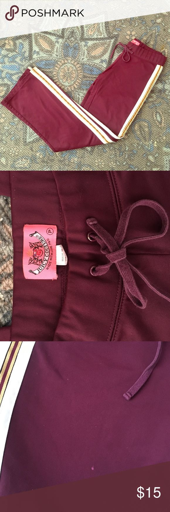 Juicy Couture track pants Maroon juicy track sweats! Size petite. Light wear and one small spot as pictured.  Clean with no markings on sides or butt. Besides small spot that isn't noticeable, in great condition and made very well. Great for jogging or hitting the gym. Always get tons of compliments on these but unfortunately no longer fit. Juicy Couture Pants Track Pants & Joggers