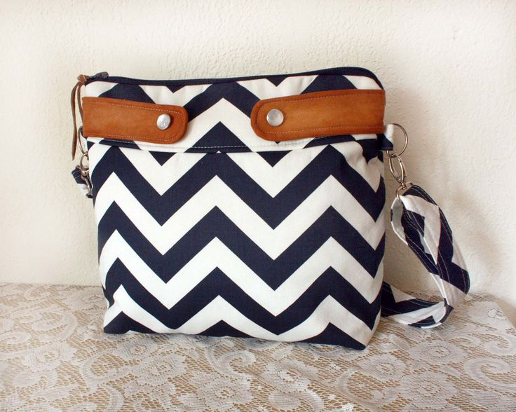 Crossbody Chevron Purse / Nautical look // Navy/White stripe & faux suede-- Made to Order--. $52.00, via Etsy.