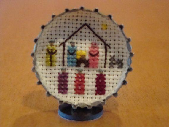 Mini presepe contato punto croce di NativityStitch su Etsy