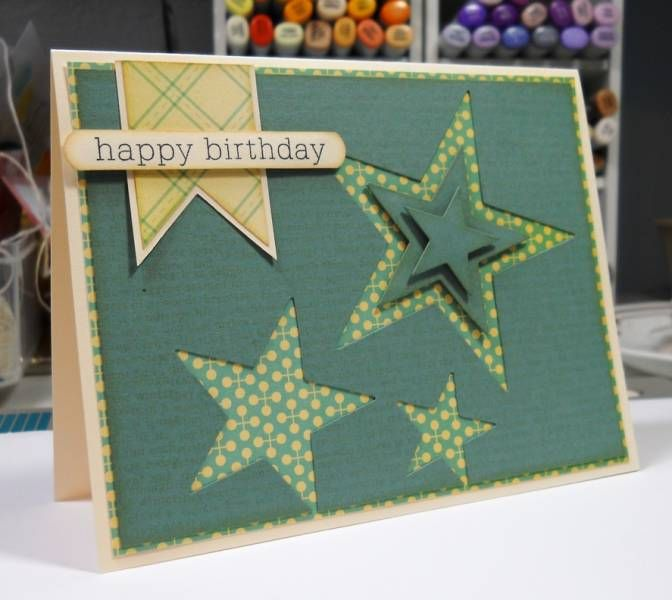 Star Birthday - 3 star dies and the cut outs used in the largest negative cut.  Great idea and little waste.