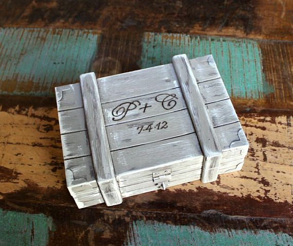 Rustic Wedding  Ring Bearer Box  Personalized  Ring Holder