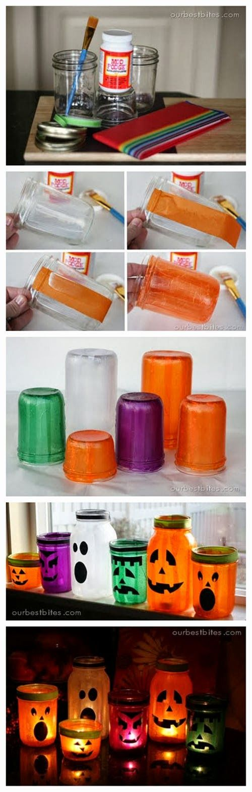 Great mason jar idea - OR just empty jars. #craft on your own! #Mason_Jar_Lanterns