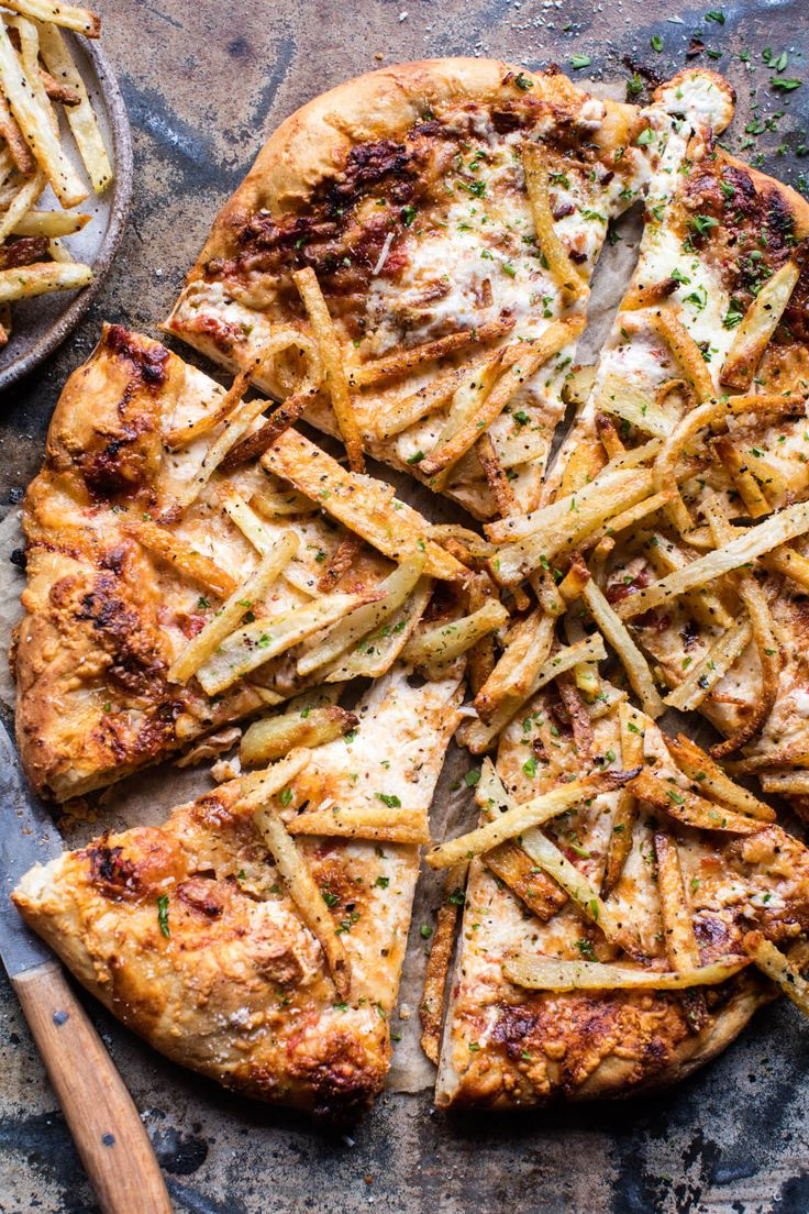 French Fry Cheese Pizza - Fries on a pizza? Yep, it's actually quick, easy to make, super cheesy, and totally delish! From halfbakedharvest.com