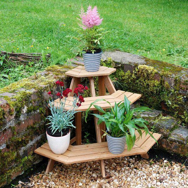 Quiet Corner Container Gardening Ideas: Wooden Corner Etagere Plant Pot Garden Stand Home Outdoor