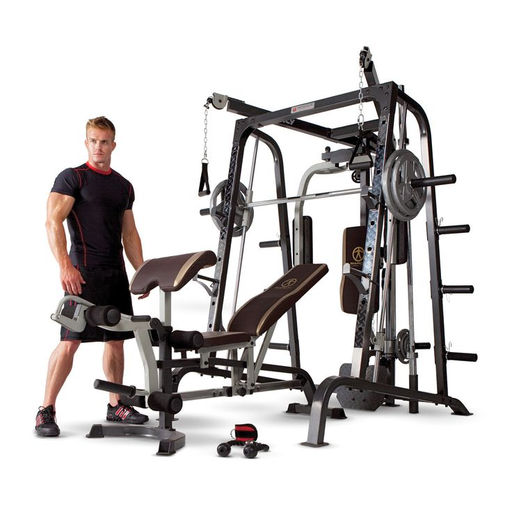 Get a professional gym workout from home with this Marcy Diamond Elite Smith Cage gym. This gym combines pulleys and free weights to give you the ultimate full body workout experience.