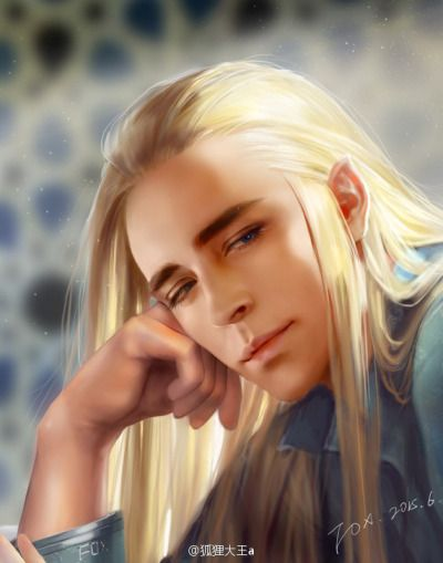 Young Thranduil: eprobably bored of listening to Oropher go on and on about kingly things and spying a pretty elf maiden, perhaps his future wife.