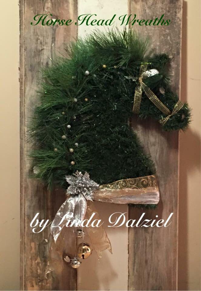 Hand woven faux garland: Horse Head Wreaths by Linda Dalziel/Facebook