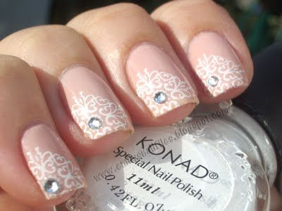 """Ciate Paint Pots """"My Fair Lady"""" stamped with Konad White Special Polish, accented with crystals"""