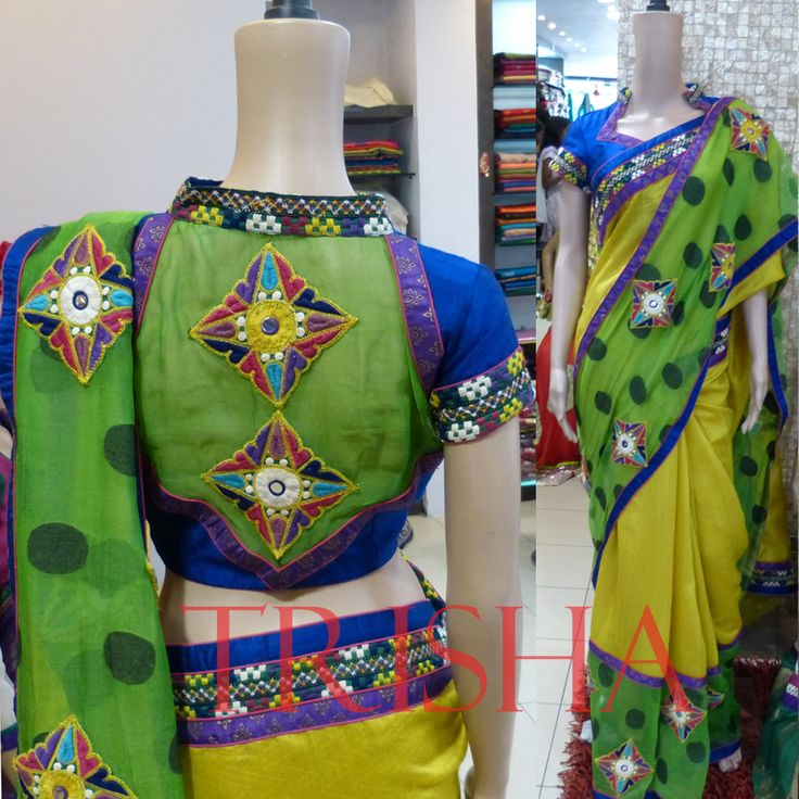 Designer Handloom Saree With High Neck Blouse
