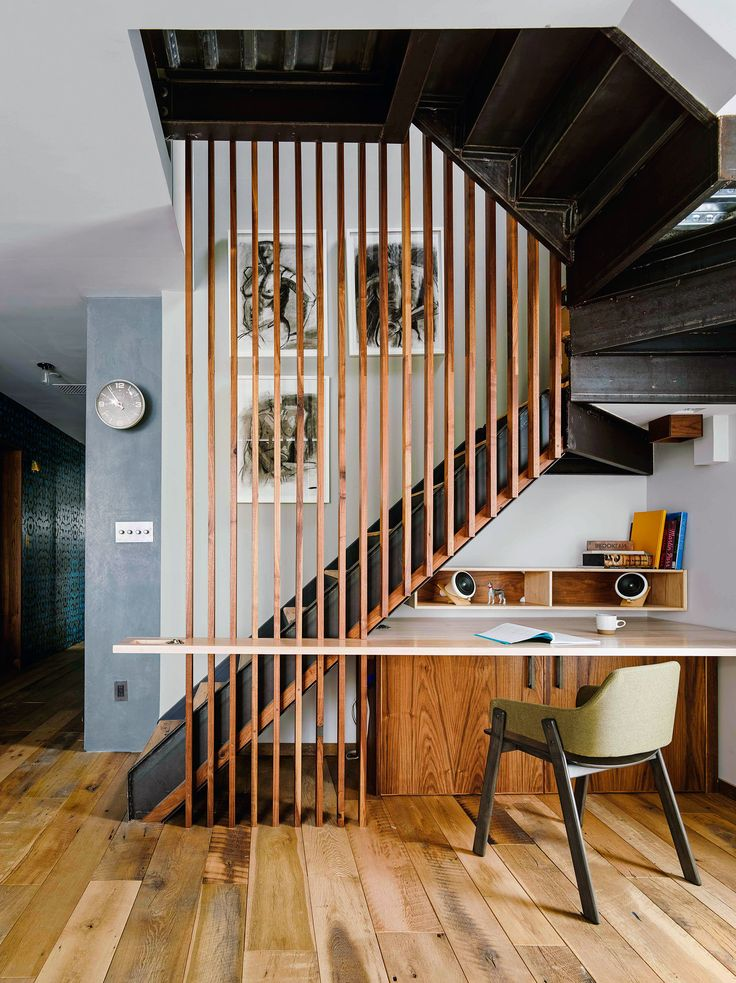 creative use of space — home office under the stairs in a Brooklyn apartment