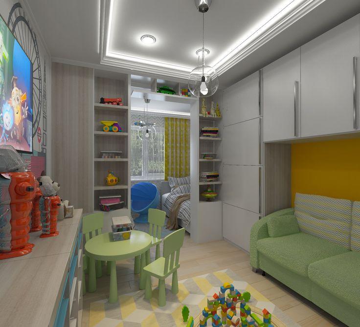 Детская-01. Телевизор на стене в детской комнате. Зелёная детская мебель. Белый потолок со светодиодной подсветкой. Ящики для игрушек. Роспись на стене. Диван под навесными шкафами.