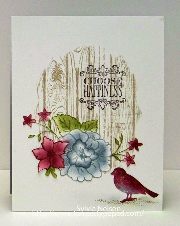 Choose happiness - bird, flowers, wood b/g