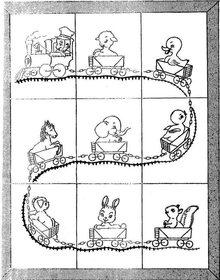 Vintage Embroidery transfer repo 521 Train quilt pattern with animals for Baby