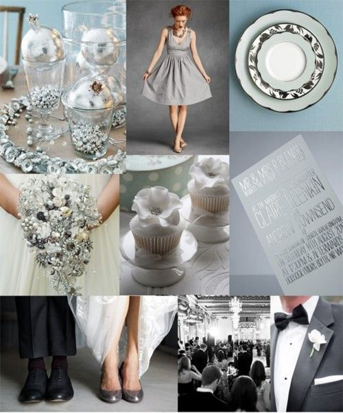 All About Silver    Silver & blue table decorations from Better Homes & Gardens, silver bridesmaid gown from BHLDN, silver table-setting via Martha Stewart Weddings, silver brooch bouquet by Do Bouquets, cupcakes by Cottons & Crumbs, silver wedding invitation from GFSmith, shoes photo by Amy & Stuart via Snippet & Ink, Ballroom photo from Hassas Photography, tux photo by Lori Paladino via Grey Likes Weddings