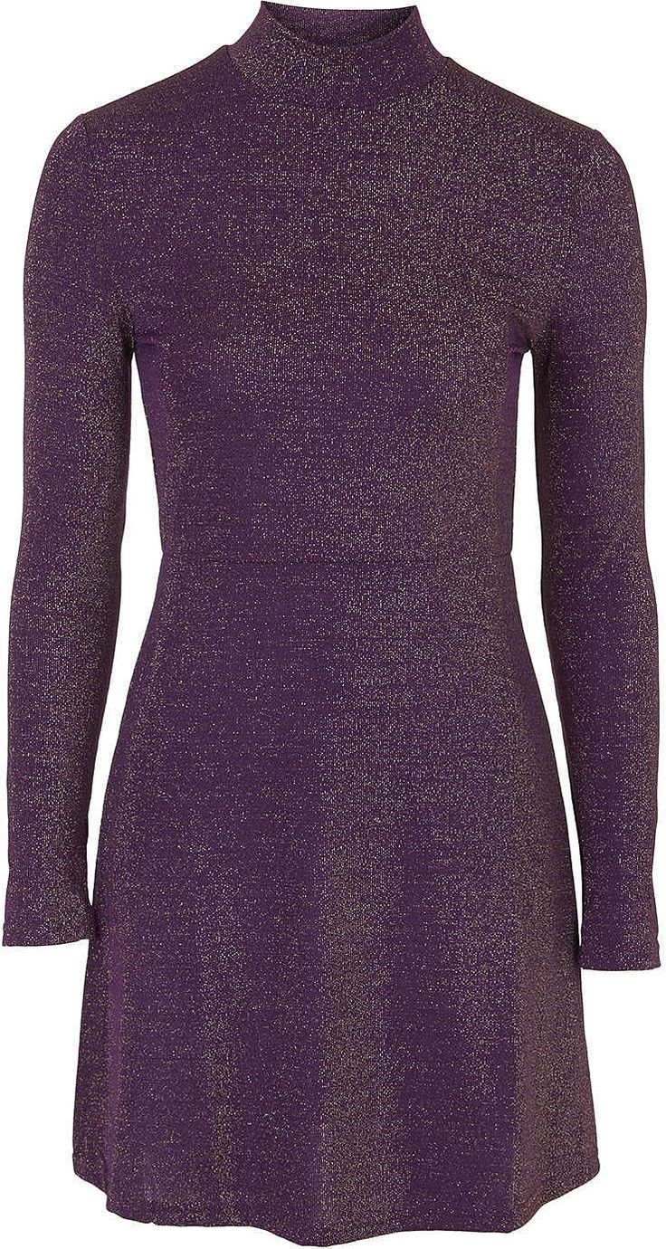 Womens aubergine high-neck flare dress by glamorous petites from Topshop - £20 at ClothingByColour.com