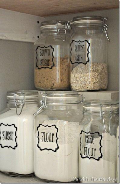 mason jars for an organized pantry--love it