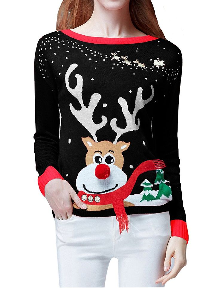 Womens Ugly Christmas Sweater, Ladies Girls Cute Reindeer 3D Nose Sweater Womens -2619