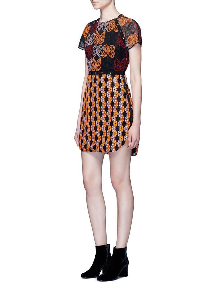 GIAMBA - Butterfly and diamond embroidered eyelet tulle dress | Multi-colour Mini Dresses | Women | Lane Crawford - Shop Designer Brands Online