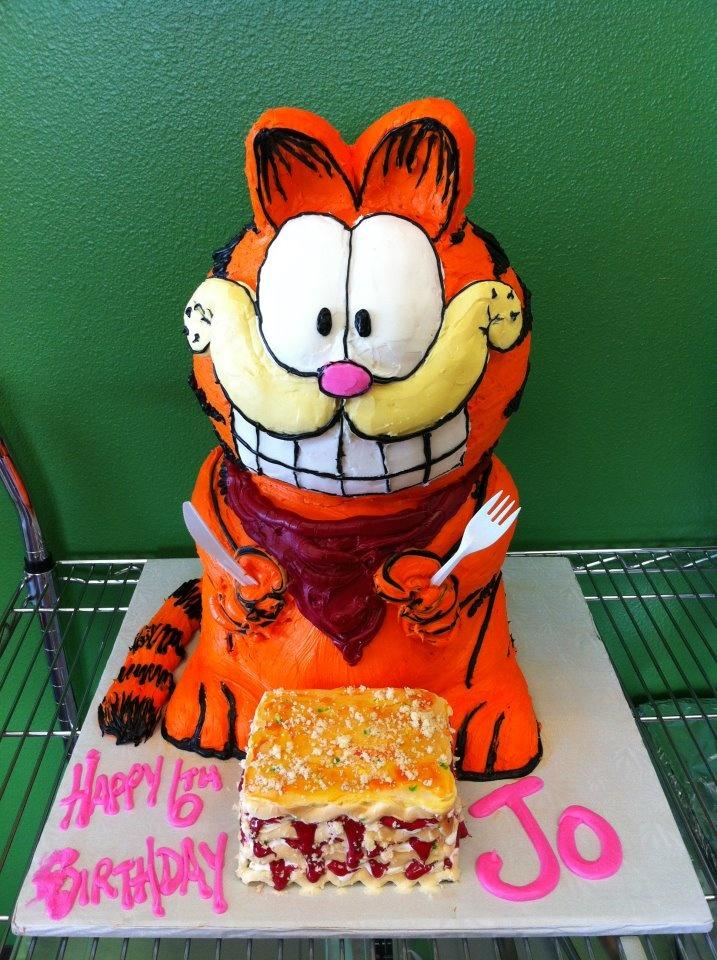 Garfield celebrating Jo's birthday by eating his favorite, lasagna!!