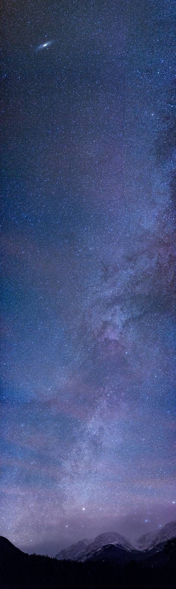 Milky Way vertical panorama featuring the Andromeda Galaxy