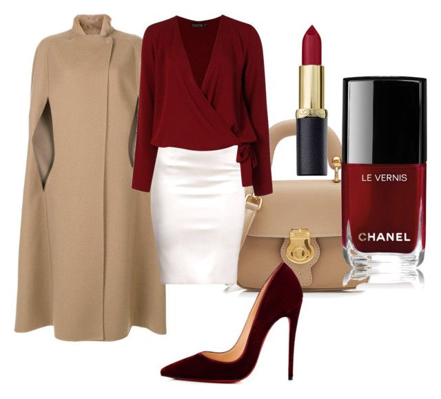"""In red"" by juljabutkevich ❤ liked on Polyvore featuring Burberry, Agnona, Chanel, Christian Louboutin and Boohoo"