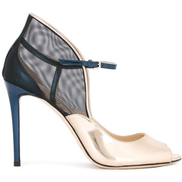 Jimmy Choo Trudie 100 sandals ($825) ❤ liked on Polyvore featuring shoes, sandals, heels, grey, peep toe sandals, strap heel sandals, strappy heeled sandals, heeled sandals and sports sandals