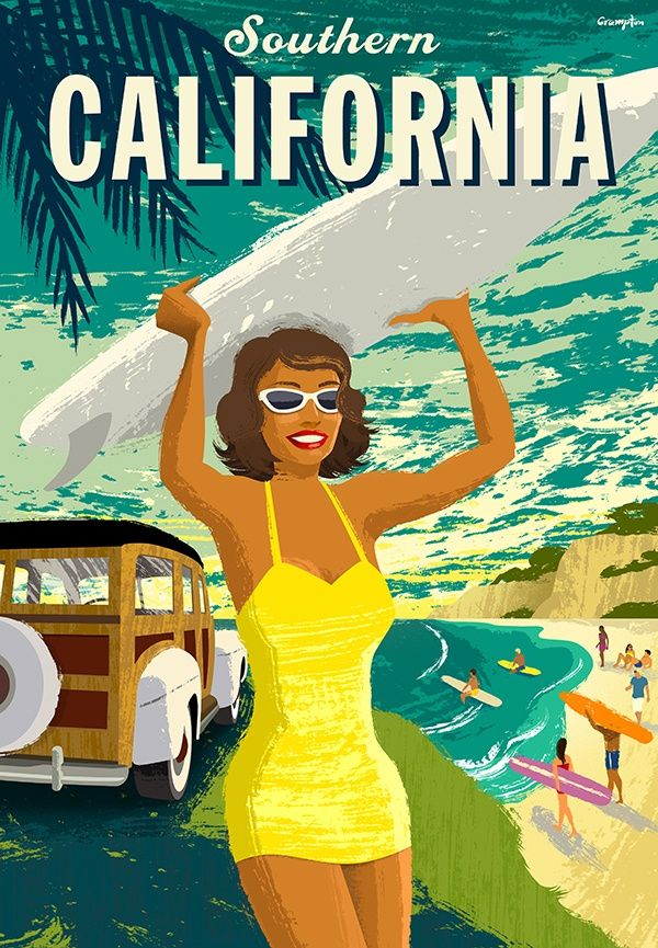 Southern California vintage beach surf travel poster - USA surfer
