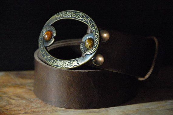 Women's Leather Belt  Stone Brass Belt Buckle by CUERO925LEATHER, €24.00