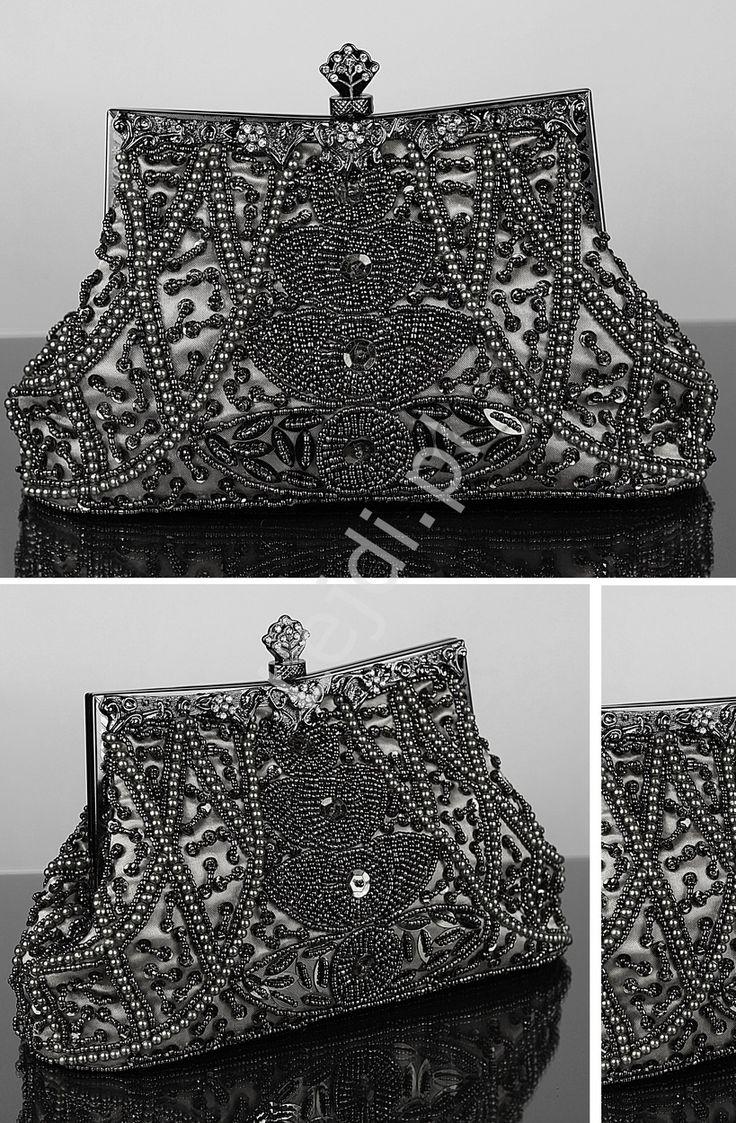 Dark grey baroque clutch bag. Evening bag. Hand made bags. Grafitowa torebka w stylu barokowym - rękodzieło | torebka wieczorowa z koralikami