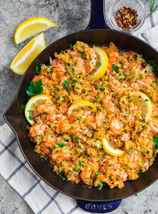 Baked Shrimp Scampi. This lightened-up shrimp dish with garlic, bread crumbs, an…
