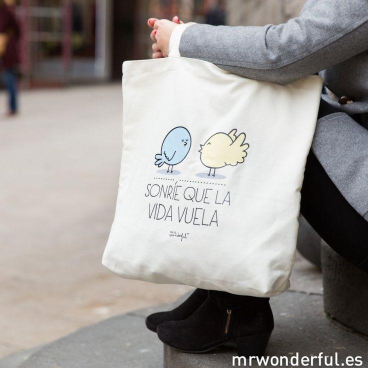 Bolsa de tela - Sonríe que la vida vuela #mrwonderful