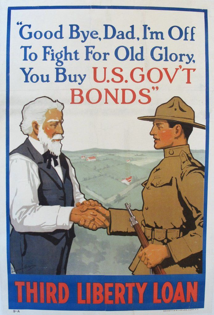1918 Vintage WWI Propaganda Poster, Good Bye Dad Third Liberty Loan - Lawrence Harris