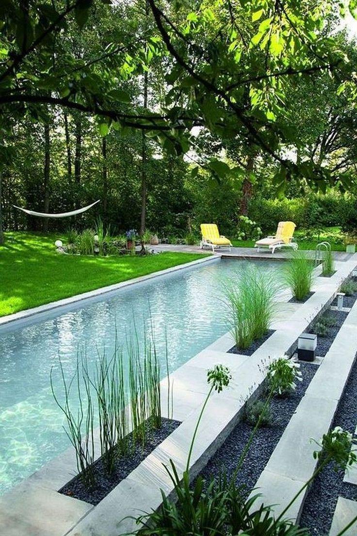 Hinterhof Eines Swimmingpools Ein Von Baumen Umgebener Pool Wurde Baumen Ein Eines Baumen Ein Eine In 2020 Swimming Pools Backyard Garden Pool