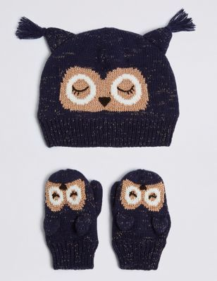 d3a9ff34018ef Buy the Kids  Novelty Owl Hat   Mittens Set from Marks and Spencer s ...