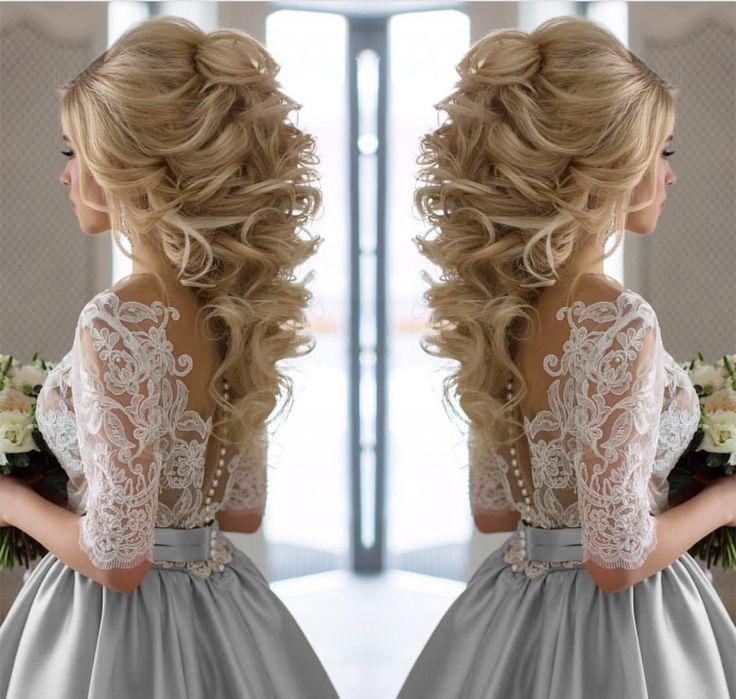 Bescheidenen halben Ärmeln Spitze Applikationen Silber Brautkleider Satin 2017   – Cute Hairstyles Shoulder Length